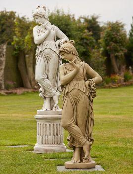 Nude Elise Stone Sculpture & Pedestal - Large Garden Statue