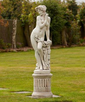 Nude Lola Stone Sculpture & Pedestal - Large Garden Statue