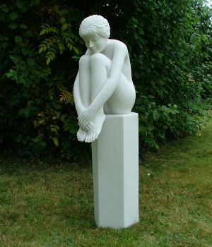 Nude Melina on Column Sculpture - Large Garden Statue