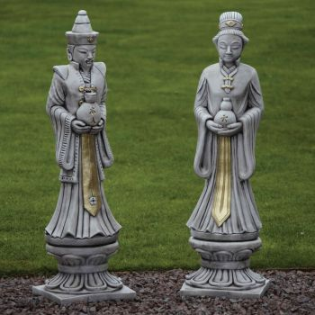 Oriental Man & Woman Stone Sculpture - Large Garden Statue