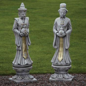 Oriental Man & Woman Stone Sculpture - Large Garden Statue