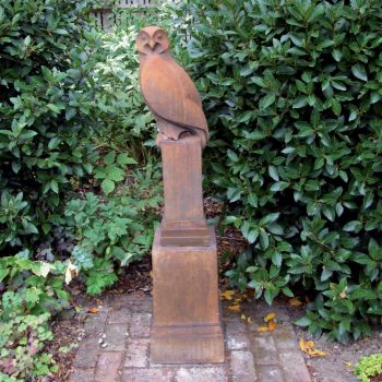 Owl on Plinth Modern Statue (Rust) - Garden Sculpture