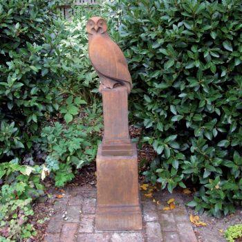 Owl on Plinth Modern Statue (Rust) - Garden Sculpture
