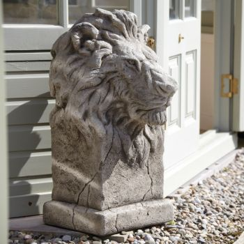 Pair of African Lions Stone Sculpture - Large Garden Statue