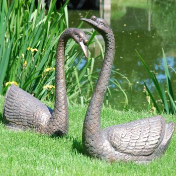 Pair of Swans Antique Bronze Statue - Large Garden Ornament