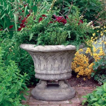 Plaited Stone Vase Plant Pot - Large Garden Planter