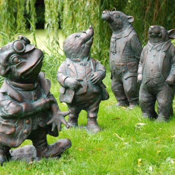 Wind in the Willows Collection of 4 Bronze Garden Ornaments