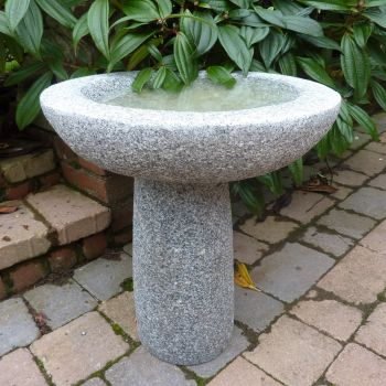 Pure Natural Granite Grey Stone Birdbath - Garden Bird Bath