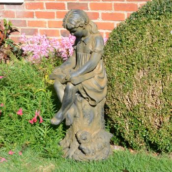 Reading Girl 89cm Bronze Rust Garden Statue