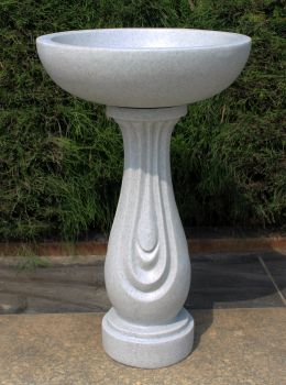 Redmire Granite Resin Modern Garden Bird Bath