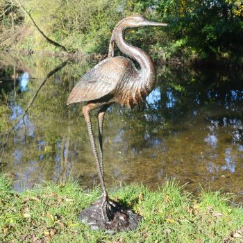 Royal Heron Bronze Metal Garden Ornament