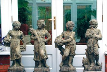 Set Four Children Stone Sculpture - Large Garden Statue