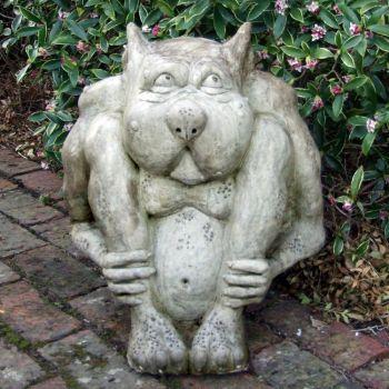 Sitting Hobgoblin Stone Statue - Large Garden Sculpture