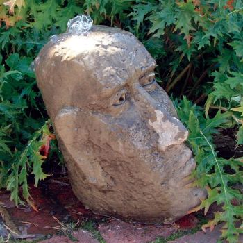 Small Moai Head Stone Fountain - Garden Water Feature