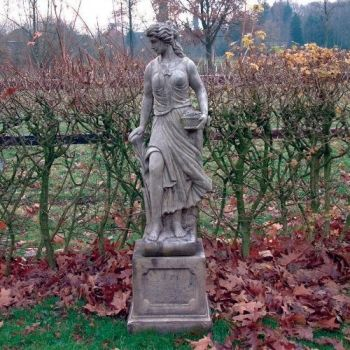 Spring Maid Sculpture on Plinth - Large Garden Statue