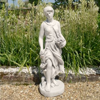 Spring Maiden 84cm Four Seasons White Stone Garden Statue
