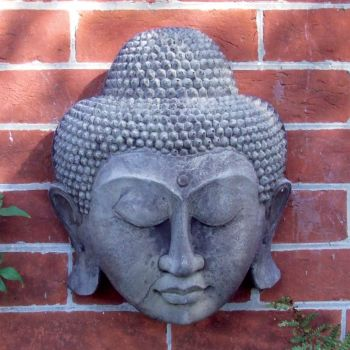 Stone Thai Buddha Head Wall Plaque - Garden Art
