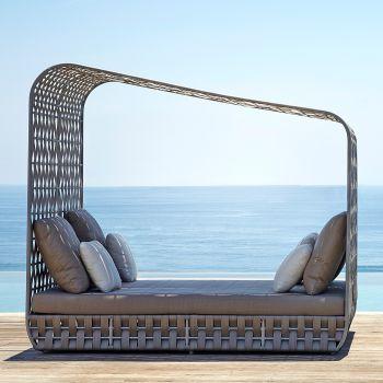Strips Cabana Rattan Daybed Sofa Garden Furniture