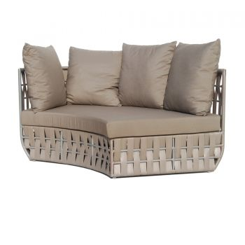 Strips Rattan Right Curve Sofa Garden Furniture