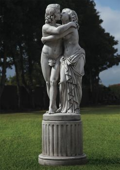 The Lovers Nude Stone Sculpture & Pedestal - Large Garden Statue