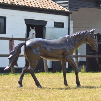 Thoroughbred Horse Life-Size Bronze Metal Garden Statue