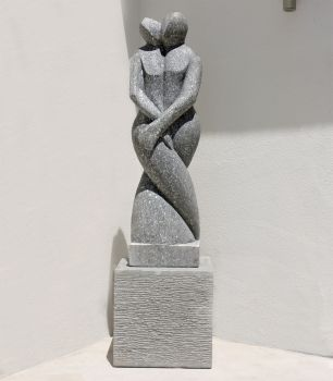Twin Flame Modern Art Stone Statue - Large Garden Sculpture
