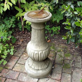 Victorian Aged Brass Stone Sun Dial - Garden Sundial