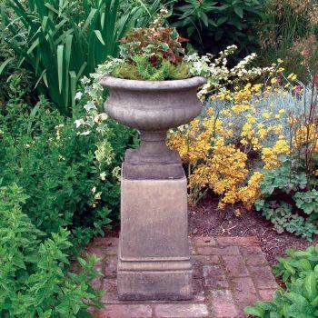 Victorian Stone Urn on Plinth - Large Garden Planter