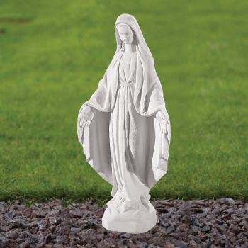 Virgin Mary 35cm Religious Sculpture - Marble Garden Statue