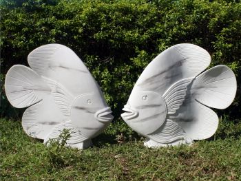 White & Black Fish Sculpture - Large Garden Ornament