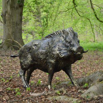 Wild Boar Life-Size Bronze Metal Garden Statue