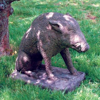 Wild Boar Stone Animal Statue - Large Garden Ornament