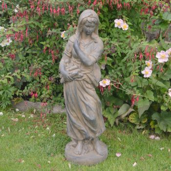 Winter Maiden 84cm Four Seasons Bronze Rust Stone Garden Statue