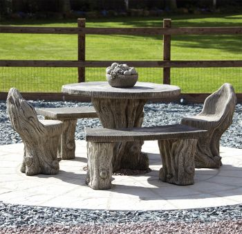 Woodlands Stone Benches & Table Patio Set - Garden Furniture