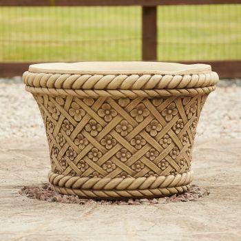 Woven Plant Pot Bathstone Stone - Large Garden Planter