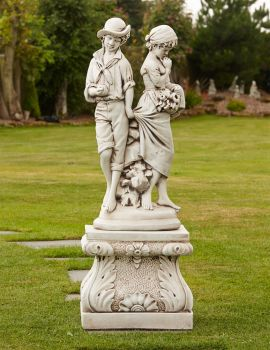 Young Affection Stone Sculpture & Pedestal - Large Garden Statue