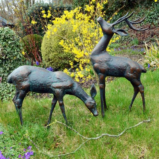 Deer Bronze Statues - Metal Garden Ornaments