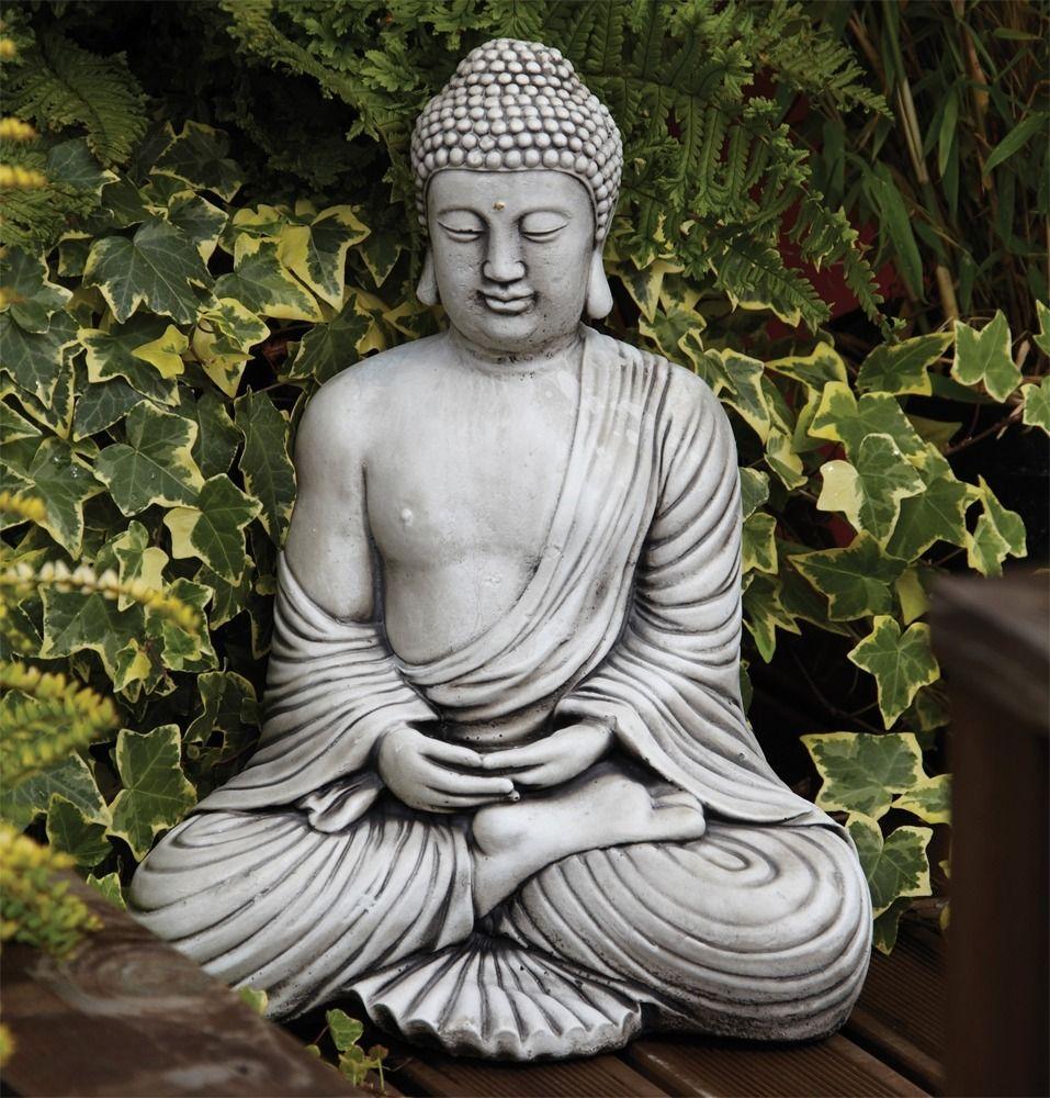 Serene Thai Stone Buddha Statue Large Garden Ornament