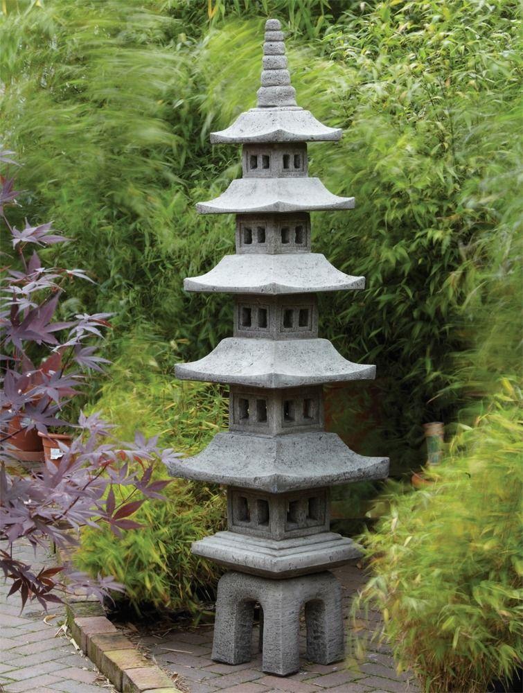 Seven Piece Japanese Paa Lantern, Oriental Stone Garden Lanterns