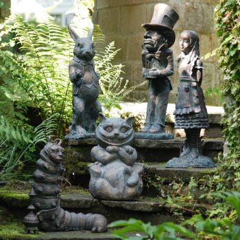 Alice in Wonderland Collection of 5 Bronze Garden Ornaments