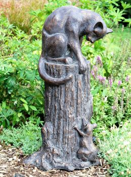 Cat & Mouse Bronze Metal Garden Statue