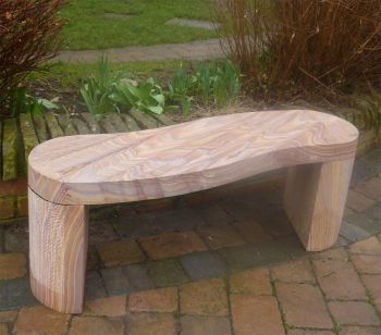 Curve Polished Rainbow Sandstone Stone Bench - Large Garden Benches