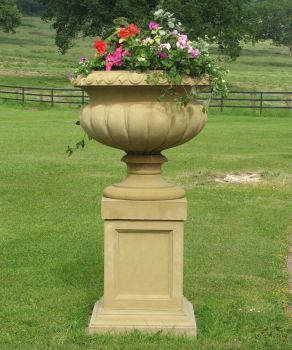Victorian Stone Plant Tazza on Pedestal - Large Garden Planter