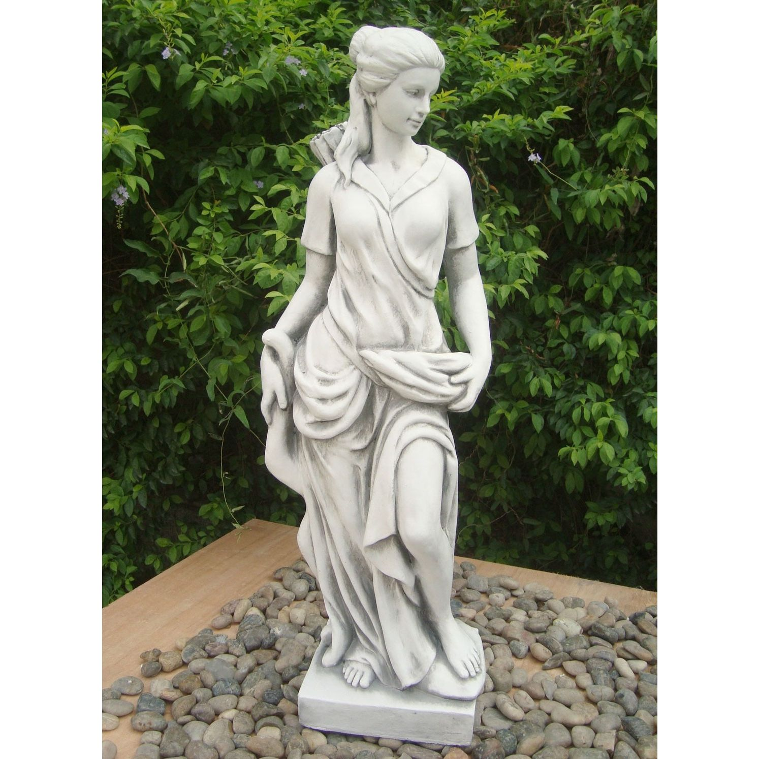 Diana The Huntress 85cm White Stone Garden Statue