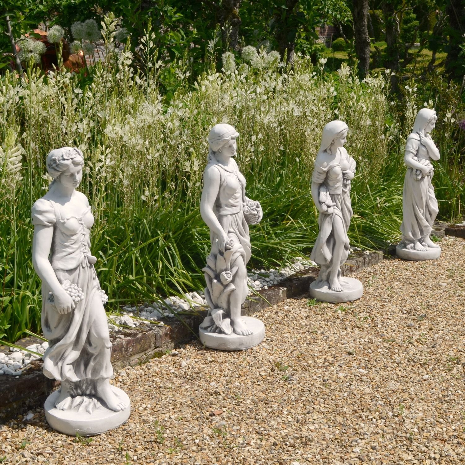 Four Seasons Maiden Collection 84cm White Stone Garden Statues