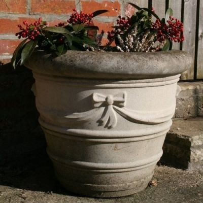 "16"" Ribbon Stone Vase Planter - Large Garden Planters"