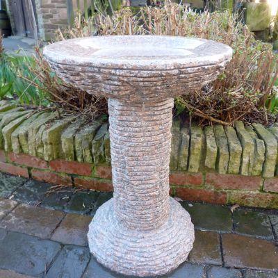Highland Natural Granite Stone Birdbath - Garden Bird Bath Feeder