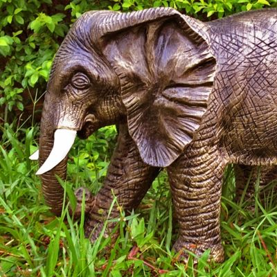 African Elephant 42cm Bronze Marble Resin Garden Statue