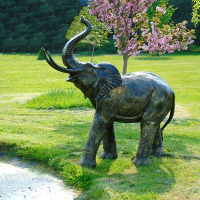 African Elephant Bronze Metal Garden Statue