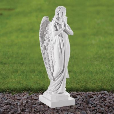 Angel Figurine 37cm Religious Statue - Marble Garden Ornament
